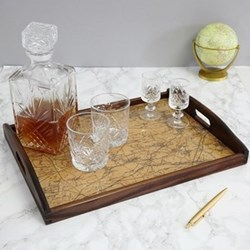 Drinks tray with personalised map, 40 x 30cm, stained dark wood and heatproof glass