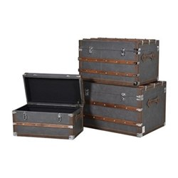 Colonial Set of 3 trunks, grey