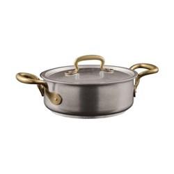 1965 Vintage Casserole pot with lid, 3.7 litre - D24 x H8cm, stainless steel