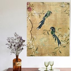 Art - Panel of a Chinese Wallpaper Wall decoration, 80 x 100cm, brown