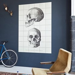 Art - The Skull Wall decoration, 120 x 180cm, black and white