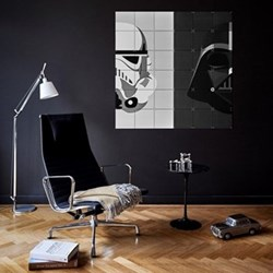 Star Wars - Stormtrooper / Darth Vader Wall decoration, 120 x 120cm, black and white