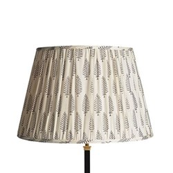 Straight Empire Block printed lampshade, 45cm, grey ferns cotton