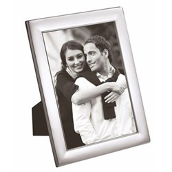 "W Series - Plain Photograph frame, 6 x 4"", silver plate with mahogany finish back"