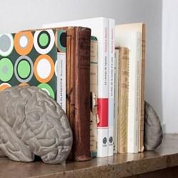 Concrete brain bookends L16 x W13.5 x H11.5cm