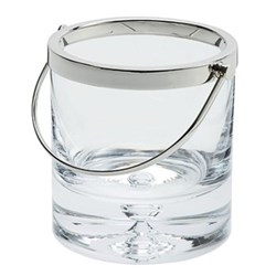Cercle Ice bucket, 14cm, glass with silver rim and handle