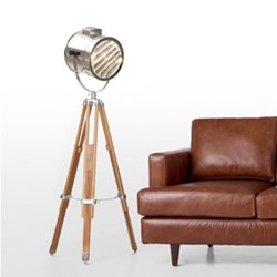 Alfred Tripod floor lamp, H165 x W75 x D24cm, natural wood