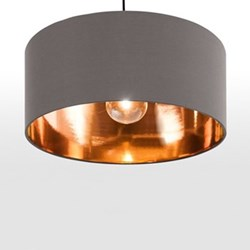 Hue Pendant shade, H20 x W45 x D45cm, grey & copper