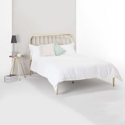 Alana Double bed, H110 x W206 x D143cm, brushed brass