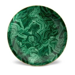Malachite Round platter, 46cm, green with 24k gold
