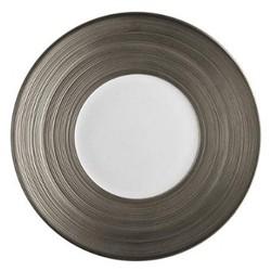 Hemisphere Hollow round dish, 29cm, full platinum rim