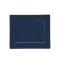 Screened Range Set of 6 tablemats with frame line, 24 x 20cm, Oxford blue