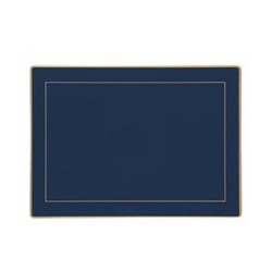 Screened Range Set of 4 placemats with frame line, 30 x 22cm, Oxford blue
