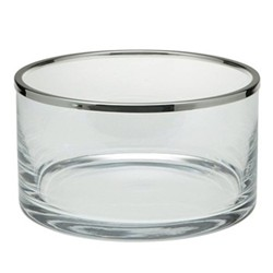 Cercle Bowl, 20cm, straight sided glass with silver rim