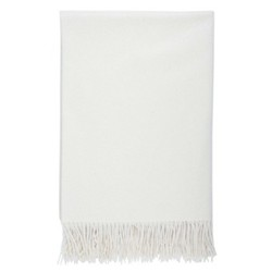 Plain Cashmere throw, 190 x 140cm, white