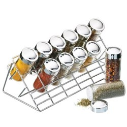 Spice rack with 12 glass jars