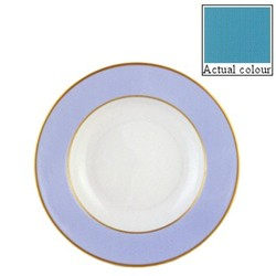 Sous le Soleil Soup plate, 22.5cm, turquoise with classic matt gold band