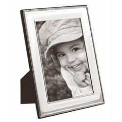 "LR Series - Bead Photograph frame, 10 x 8"", silver plate with mahogany finish back"