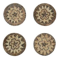 Hadza Set of 4 round placemats, 20cm, brown