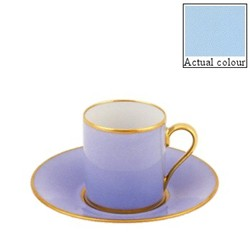 Sous le Soleil Coffee cup and saucer straight sided, 9cl, opal with classic matt gold band