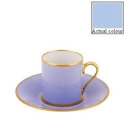 Sous le Soleil Coffee cup and saucer straight sided, 9cl, ice blue with classic matt gold band