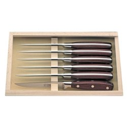 Chateaubriand Set of 6 steak knives, dark wood handles