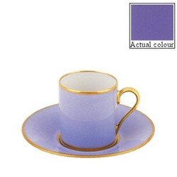 Sous le Soleil Coffee cup and saucer straight sided, 9cl, provence blue with classic matt gold band