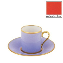 Sous le Soleil Coffee cup and saucer straight sided, 9cl, orange with classic matt gold band