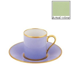 Sous le Soleil Coffee cup and saucer straight sided, 9cl, pastel green with classic matt gold band
