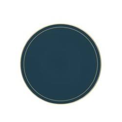 Screened Range Set of 6 round tablemats with frame line, 23cm, Oxford blue