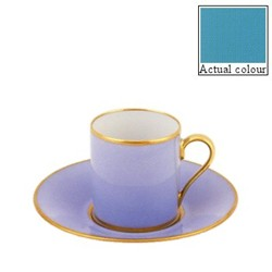Sous le Soleil Coffee cup and saucer straight sided, 9cl, turquoise with classic matt gold band