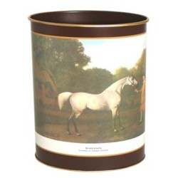 Racehorses - Traditional Range Wastepaper bin with hand guilded gold rim, H28cm, regal red