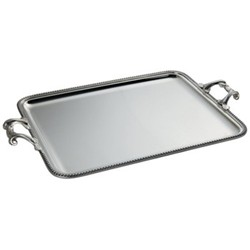 Rectangular serving tray with applied border and handles 43 x 33cm
