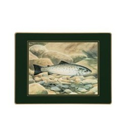 Traditional Range - Game Fish Set of 4 placemats, 30 x 22cm, bottle green