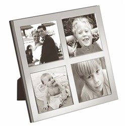 """Flat Narrow Series Photograph frame with 4 apertures, 2.5 x 2.5"""", sterling silver with mahogany finish back"""