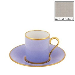 Sous le Soleil Coffee cup and saucer straight sided, 9cl, pearl grey with classic matt gold band