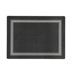 Melamine Range Set of 4 placemats, 30 x 22cm, black with silver frame line