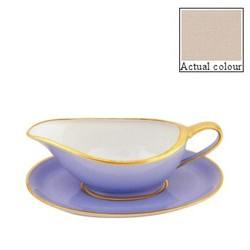 Sous le Soleil Sauce boat and stand, mastic with classic matt gold band