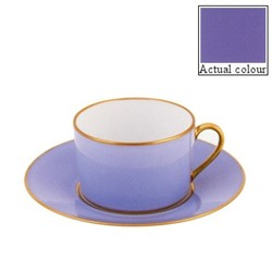 Sous le Soleil Teacup and saucer straight sided, 15cl, provence blue with classic matt gold band