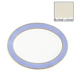 Sous le Soleil Oval platter, 36cm, ivory with classic matt gold band