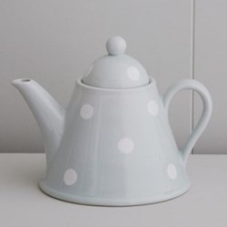White Spot Teapot conical, 4 cup, blue