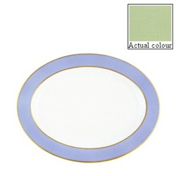 Sous le Soleil Oval platter, 36cm, pastel green with classic matt gold band