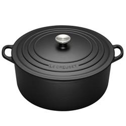 Signature Cast Iron Round casserole, 26 x 10cm - 5.3 litre, satin black
