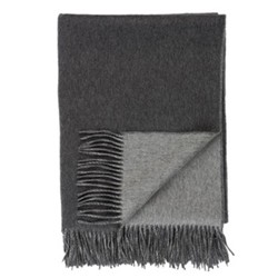 Plain Cashmere woven double faced throw, 190 x 140cm, dark grey/light grey