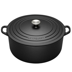 Signature Cast Iron Round casserole, 22 x 9.5cm - 3.3 litre, satin black