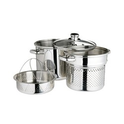 World of Flavours Pasta pot with steamer insert, 20cm / 4 litres, stainless steel
