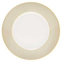 Sous le Soleil Dinner plate, 26.5cm, pearl grey with classic matt gold band