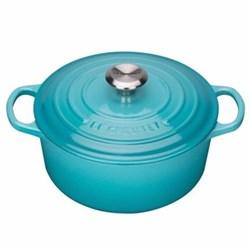 Signature Cast Iron Round casserole, 24 x 10cm - 4.2 litre, teal