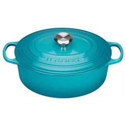 Signature Cast Iron Oval casserole, 29 x 23 x 10cm - 4.7 litre, teal
