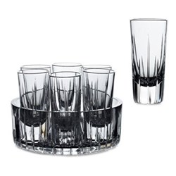 Set of 6 vodka shot glasses in a cooling tray